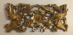 Large Chinese Highly Carved Gilt Wood Panel Fragment Partial Phoenix