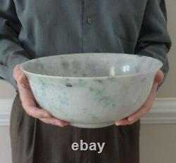 Large Chinese Jadeite Bowl w Wood Stand, Lavender, Green, Celadon 20th c