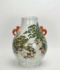 Large Chinese Marked Famille Rose Fencai 100 Deer Hu Form Porcelain Vase TOP