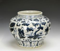 Large Chinese Ming Style Blue and White Figure Porcelain Pot