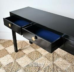 Large Chinese Oriental Black Lacquered Side Sofa Lamp Hall Console Table