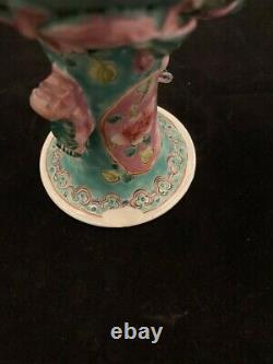Large Chinese Peranakan Nyonya Straits Famille Rose Green-ground Vase