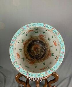 Large Chinese Porcelain Koi Carp Fish Bowl