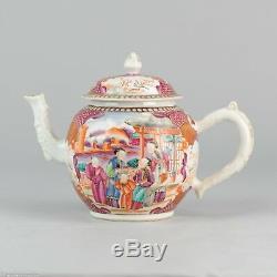 Large Chinese Porcelain ca 1750 Tea Pot Mandarin Famille Rose Museum Piece
