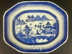 Large Chinese Qianlong Period Export Blue & White Octagon Porcelain Plate