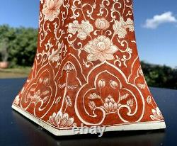 Large Chinese Red and White Porcelain Hexagonal Gu Vase 27 1/2'' Height