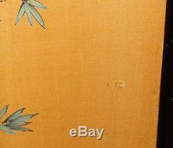 Large Chinese Watercolor Silk Panel Floral Bird Painting Signed