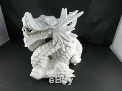 Large Chinese White Ceramic Porcelain Zodiac Year Loong Dragon Ball Statue 10