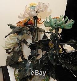 Large Cloisonne Enamel Pot Chrysanthemum Jade Flower Blossom 16 High Tree