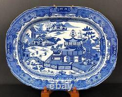 Large English Blue Willow Pattern Transferware Platter 17 ¼ Circa 1830-40