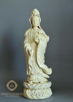 Large Fine Quality Chinese Dehua Porcelain Blanc De Chine Guanyin Kwanyin Figure