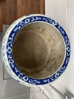 Large Hand Painted Blue & White Chinese Fish Bowl Jardiniere 20th Century