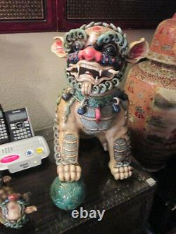 Large Handcrafted Stone Foo Dogs (lion)