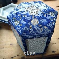 Large Japanese Hirado Blue & White Hexagonal Cricket Cage Censor/Lantern