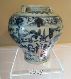 Large Ming Dynasty Blue and White Vessel CHINA 17th Century or Earlier