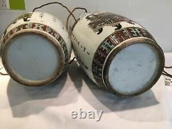Large Pair Antique Chinese Vase Table Lamps 53cm Tall