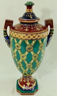 Large Pair Antique/Vtg 18 SIGNED Chinese Fleur De Lis Porcelain Urn Vases