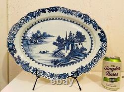 Large Qing Chinese Blue and White Plate Platter 15x12 inch