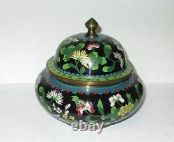 Large Rare Chinese Cloisonne Black Enamel Floral Jar Bowl Box
