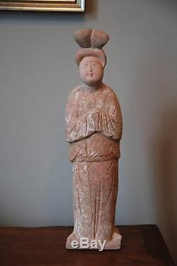 Large Tang Dynasty Fat Lady Figure Chinese Painted Pottery