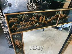 Large Vintage Chinese Black Lacquer Framed Wall Mirror Delivery Available