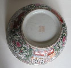 Large Vintage Chinese Export Rose Medallion Punch Bowl Figural Scenes 14.25