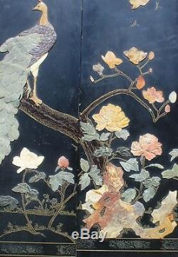 Large Vintage Chinese Six Panels Hardstone Screen