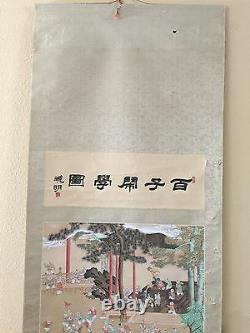 Large Vintage Chinese Wall Hanging Scroll Hand Painted 100 Boys on Silk, Signed