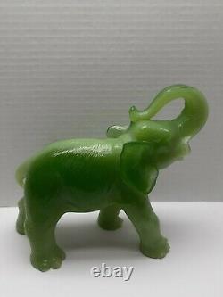Large Vintage Jade Green Elephant Statue