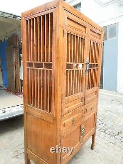 Large antique Chinese laquered kitchen/ bathroom cabinet