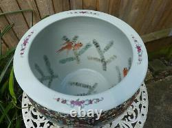 Large hand painted chinese ceramic fish bowl planter
