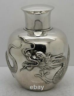 Large size CHINESE EXPORT solid silver HEAVY DRAGON TEA CADDY. Zeewo c. 1900