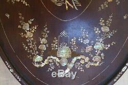 Large tray Chinese Vietnamese Indochinese wood mother of pearl 19th, bois nacre
