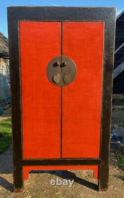 Large, unusual Red & Black lacquered 19th C Chinese Wedding Cabinet / wardrobe