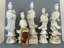 Lot 5 Large Asian Chinese Chinoiserie Blanc de Chine Kwan Yin Porcelain Figures