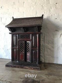 Lrg C19th Asian Buddhist Home Shrine Temple Altar Wood Antique Chinese Buddha