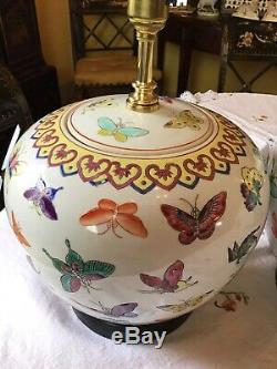 Magnificent Pair Chinese Porcelain Butterfly Large Ginger Jar Table Lamps Mint