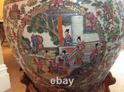 Matching Pair of Large Chinese Fish Bowls with Stands