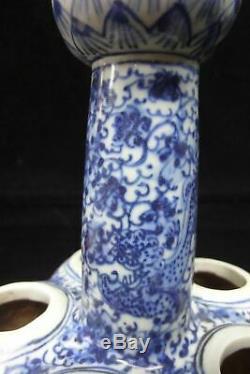 Old Large Chinese Blue and White Five Tubes Porcelain Lotus Vase KangXi Marks