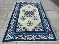 Old Traditional Hand Made Chinese Rug Oriental Blue Wool Large Rug 242x154cm