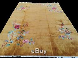 Oriental Fine Handmade Chinese Rug gold 360 cm x 270 cm large rug Authentic