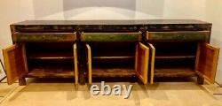 Oriental Painted Large Sideboard Chinese Antique Style Distressed Cabinet
