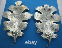 Pair (2) of Antique Chinese Export Sterling Large Oak Leaf Shallow Dishes