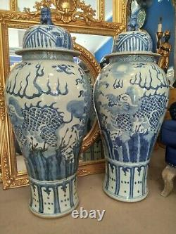 Pair Blue and White Porcelain Temple Jars Vases large 4ft