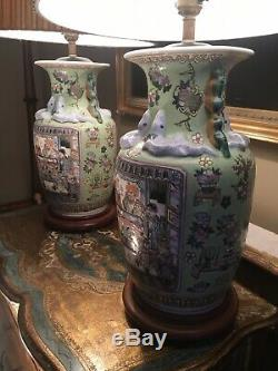 Pair Of Large Antique Vintage Chinese Porcelain Table Lamps