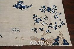 Pre-1900 Antique Vegetable Dye Peking Art Deco Nichols Chinese Large Rug 11'x12