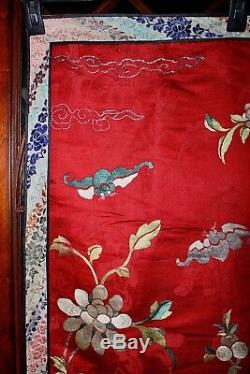 QING Chinese Silk Padded Embroidery Large Textile Panel Tapestry Immortal Kilin