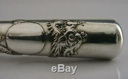RARE LARGE ALL STERLING SILVER CHINESE EXPORT SILVER BUTTON HOOK c1900 ANTIQUE