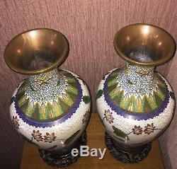 RARE! Lao Tian Li Cloisonne VASE JAR BOWL lARGE 12 1 /2