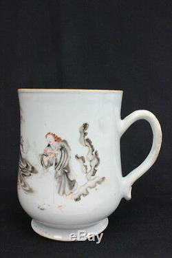 Rare 17/18C antique Chinese export European scene large porcelain mug 6.5